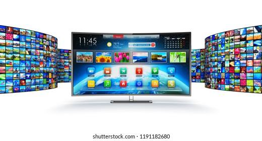 Web-Streaming-Video-Service-Technologie, Multimedia-Internetkommunikation und Produktion von Kinoinhalten 3D-Darstellung des geschwungenen Bildschirm-Bildschirms mit endloser Bildschirmwand