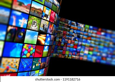 Web streaming media TV video service technology, multimedia business internet communication and cinema content production concept: 3D render of black background with endless walls of display screens