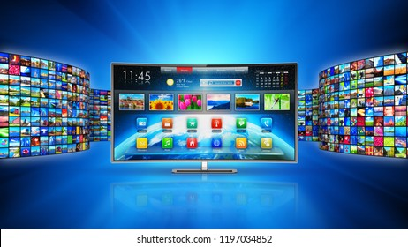 Web streaming media TV video service technology, multimedia internet communication concept: 3D render of smart television screen display monitor with walls of screens with color photos and displays