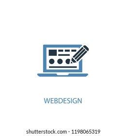 Webdesign concept 2 colored icon. Simple blue element illustration. Webdesign concept symbol design from SEO set. Can be used for web and mobile UI/UX