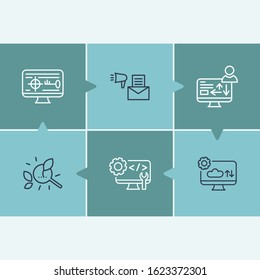 Webdesign icon set and code optimization with target keywords, traffic conversion and email campaign. Processing related webdesign icon for web UI logo design.