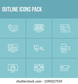 Webdesign icon set and content structure with website speed, business card and back-end development. Internet related webdesign icon for web UI logo design.
