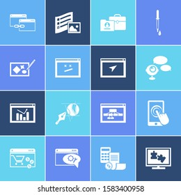 Webdesign icon set and logo design with touchscreen, related content and website navigation. Drawing related webdesign icon for web UI logo design.
