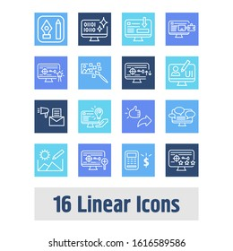 Webdesign icon set and raster art with UI design, graphic designer software and creative services. Programming related webdesign icon for web UI logo design.