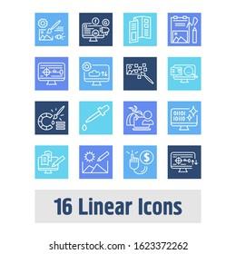 Webdesign icon set and raster art with freelance work, eyedropper and copywriting. Booklet related webdesign icon for web UI logo design.