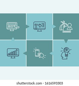 Webdesign icon set and web design with traffic growth, bug fixing and creative idea. Increase related webdesign icon for web UI logo design.