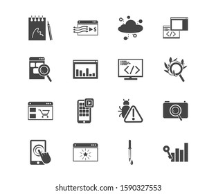 Webdesign icon set and website traffic with sketchbook, organic search and touchscreen. Pipette related webdesign icon for web UI logo design.