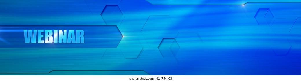 """Webinar header banner. Title """"Webinar"""" at the blue background."""
