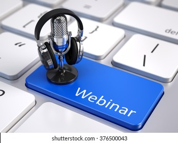 Webinar, Online Education and Training concept - Blue Webinar button with microphone and headphones