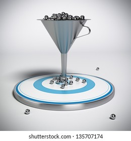 webmarketing sales funnel with metal spheres inside plus a blue target with some balls on it, illustration isolated over grey background.