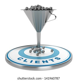 webmarketing sales funnel with metal spheres inside plus a blue target with some balls on it, illustration isolated over white.