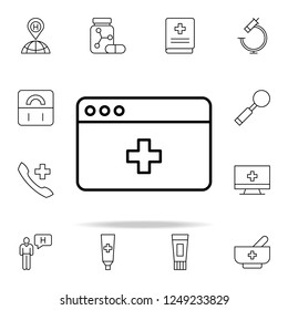 webpage medical icon. Medical icons universal set for web and mobile