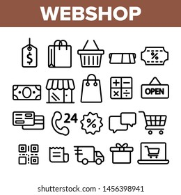 Webshop, Online Shopping Linear Icons Set. E Commerce Thin Line Contour Symbols Pack. Internet Purchases Pictograms Collection. Online Sales. Goods Delivery Outline Illustrations