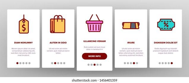Webshop, Online Shopping Linear Onboarding Mobile App Page Screen. E Commerce Thin Line Contour Symbols Pack. Internet Purchases Pictograms Collection. Online Sales. Goods Delivery Illustration