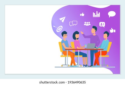 Website of Company, Our Team on Meeting, Teamwork