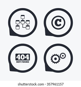 Website database icon. Copyrights and gear signs. 404 page not found symbol. Under construction. Flat icon pointers.