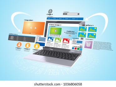 Website design and development project in blue background. Conceptual image.