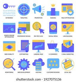 Das Symbol für Webseitenentwicklung und -optimierung wird flach gesetzt. Sammlung von SEO-Symbolen. Digitales Marketing und Werbung.