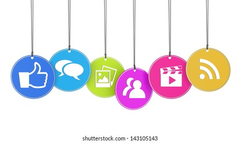Website and Internet concept with social media icons on colorful hanged tags isolated on white background.