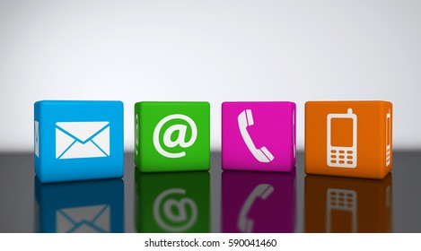 Website and Internet contact us icons on colorful cubes 3D illustration.