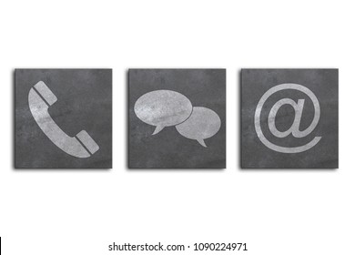 Website and Internet contact us page concept in front of a white background
