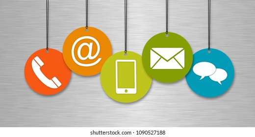 Website and Internet contact us page concept with colored icons in front of a silver background