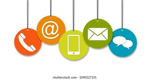 Website und Internet kontaktieren uns Seitenkonzept mit farbigen Symbolen einzeln auf weißem Hintergrund