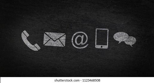 Website und Internet kontaktieren Sie uns Seitenkonzept mit Symbolen