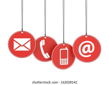 Website and Internet contact us page concept with icons on four red hanged tags on white background.
