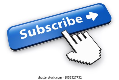Website newsletter and services subscription concept with hand cursor clicking on a blue subscribe button 3D illustration on white background.