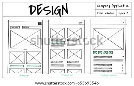 Website Template Sketch Layout Idea Stock Illustration Royalty