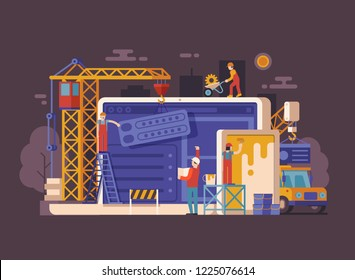 Website under construction concept background in flat design. Maintenance page or 404 error illustration with house building site, builders, civil engineer, crane and laptop. Web banner.