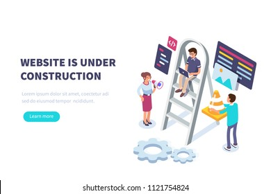 Website under construction concept with characters.  Flat isometric illustration isolated on white background.