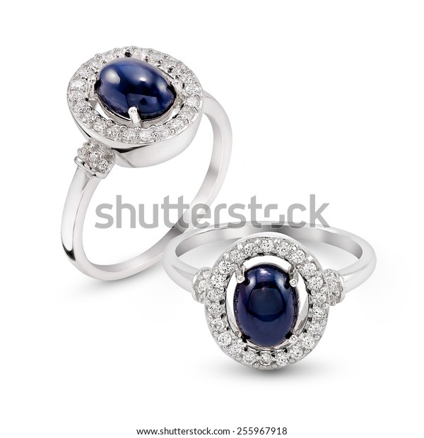Wedding Agate Blue stone Ring isolated on white background