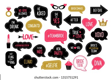Wedding and bachelorette party photo booth props set. Bridal shower photobooth props. Speech bubbles with hen night quotes - team bride, bridesmaid, she said yes.