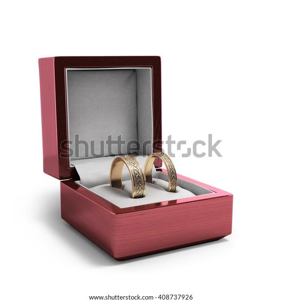 Wedding Bands Wedding Rings Red Box Stock Illustration 408737926