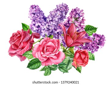 Wedding bouquet of flowers roses, lilies, lilac on an isolated white background, watercolor illustration, botanical painting, hand drawing