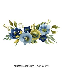Wedding bridal bouquet. green blue and purple flowers ornament