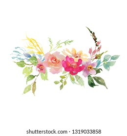 Wedding bridal romanric rustic bouquet. Hand drawing watercolor red and pink and green flowers ornament