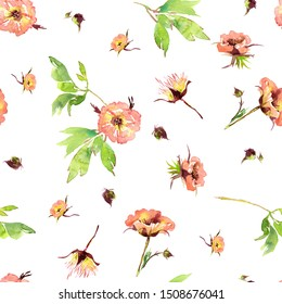 Wedding bridal romanric rustic warm seamless pattern. Hand drawing watercolor pink and purple and orange flowers ornament