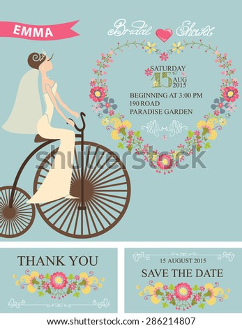 wedding bridal shower setflower wreathcartoon brideretro bicycledecor elements