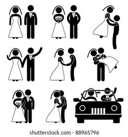 Wedding Bride Bridegroom Married Marry Marriage Car Icon Symbol Sign Pictogram