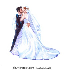 Wedding bride groom. Watercolor illustration isolated on white background.