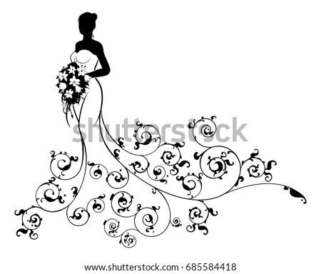 Royalty Free Stock Illustration Of Wedding Bride Silhouette White