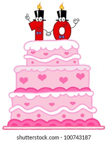 Wedding Cake Or Birthday Cake With Number Ten Candles Cartoon Character. Raster Illustration.Vector version also available in portfolio.
