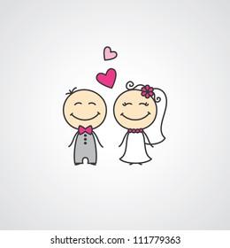 wedding card with cartoon groom and bride