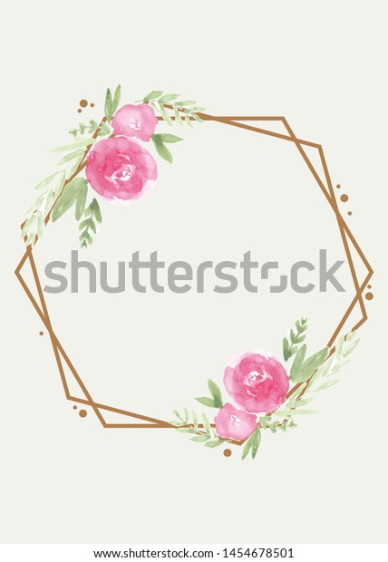 Wedding card with flower rose, leaves.Wedding ornament concept. Floral poster, invite.watercolor design card.Vector decorative greeting card or invitation design background.