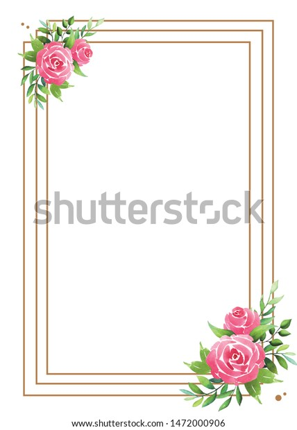 Wedding card with flower rose, leaves.Wedding ornament concept. Floral poster, invite.Watercolor design card.Greeting card or invitation design background.