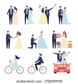 Wedding ceremonial bundle. Marriage love couples happy characters bride preparation celebration characters male female