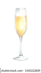 Wedding champagne glass watercolour clip art for invitation or greeting cards